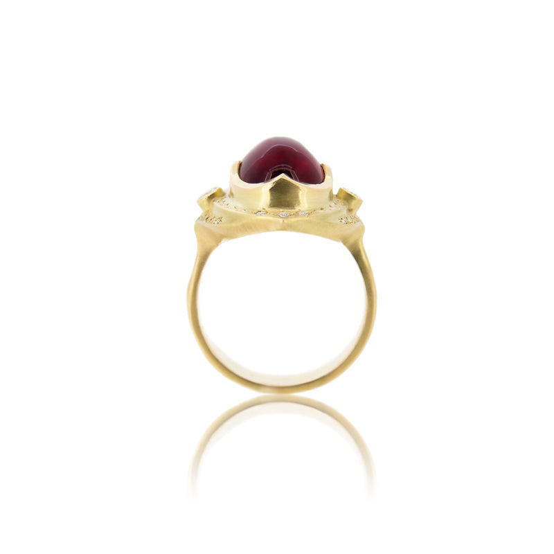 OVAL RUBELLITE THREE TIER RING
