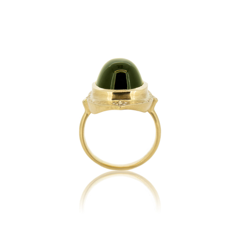 OVAL TOURMALINE TWO TIER RING