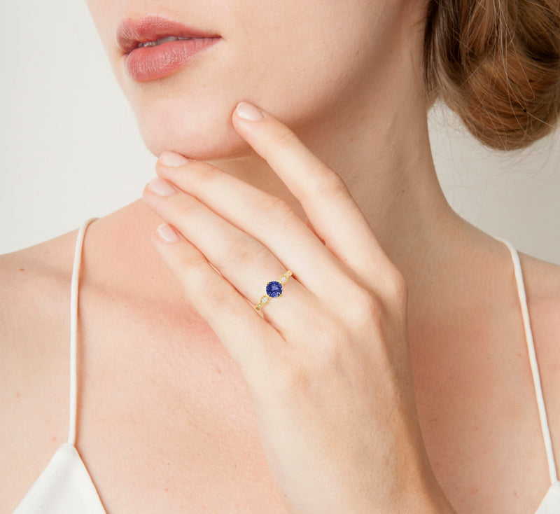 Oval and Round Sapphire Rosebud Solitaire