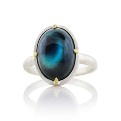 VERTICAL OVAL PRONG LABRADORITE RING
