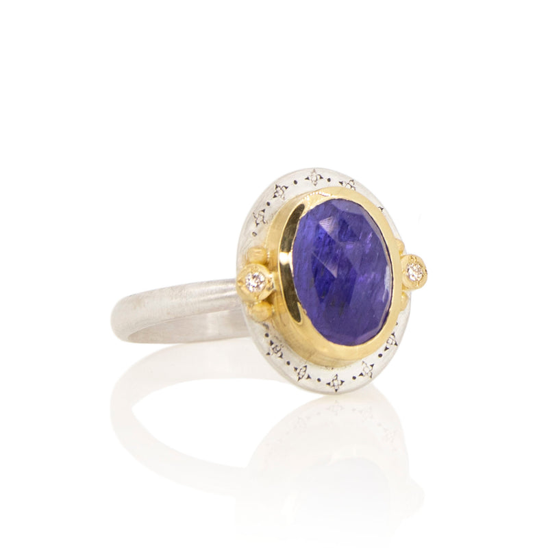 TANZANITE AND DIAMOND HARMONY RING