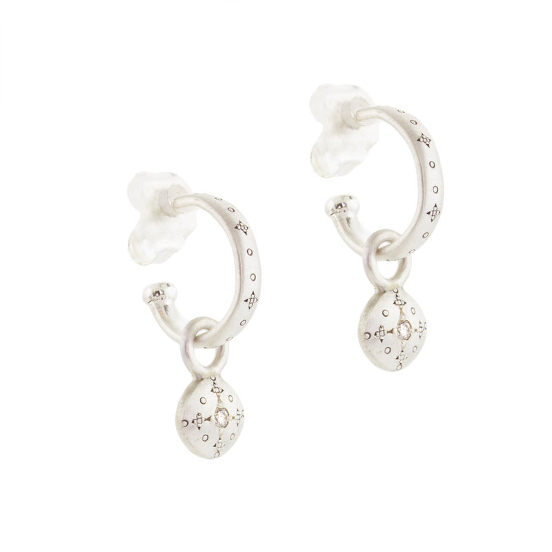 SILVER LIGHTS HOOPS WITH ROUND CHARMS