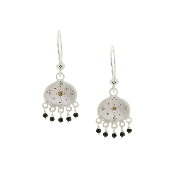 BEADED NEW MOON EARRINGS