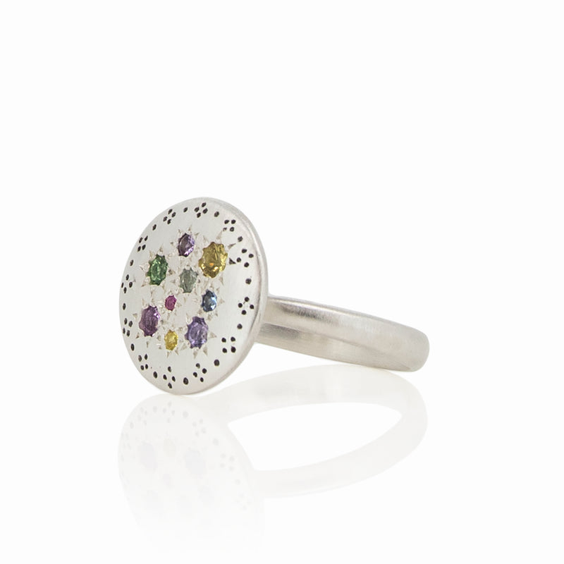 SILVER LIGHTS MULTI SAPPHIRE RING