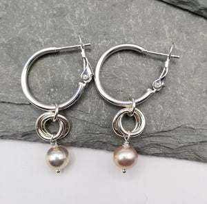 ENDLESS CIRCLE PEACH FRESHWATER PEARL DROP EARRINGS