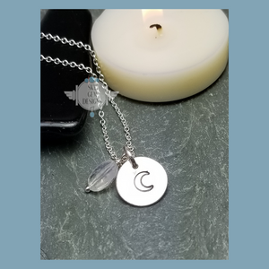 CRESCENT MOON CHARM NECKLACE WITH MOONSTONE