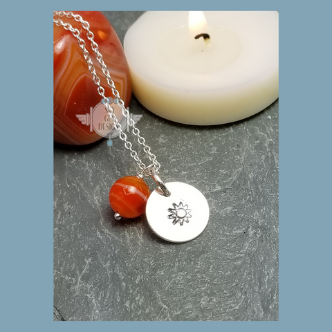 SUN CHARM NECKLACE WITH ORANGE AGATE