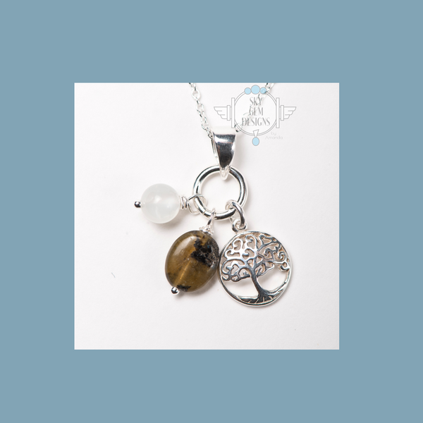 TREE OF LIFE CHARM NECKLACE WITH LABRADORITE & MOONSTONE