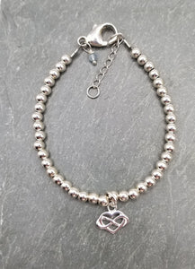 SWEET GEMS STERLING SILVER BRACELET WITH INFINITY HEART CHARM