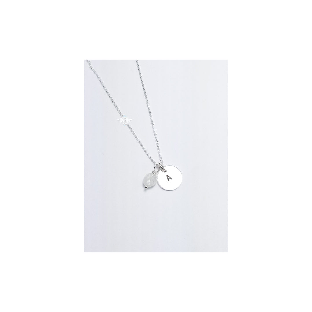 LOVE LETTERS ROUND CHARM NECKLACE WITH MOONSTONE