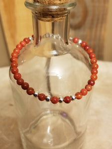 SWEET GEMS RED SPONGE CORAL WITH STERLING SILVER BRACELET