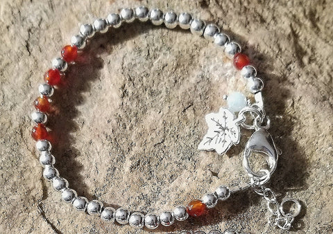 SWEET GEMS STERLING SILVER BRACELET WITH CARNELIAN & MAPLE LEAF CHARM
