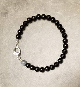 BLACK TOURMALINE WITH AQUAMARINE REMEMBRANCE BRACELET
