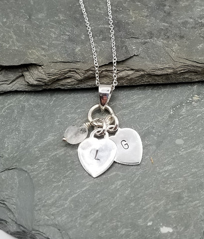 LOVE LETTERS HEART CHARM NECKLACE W/MOONSTONE