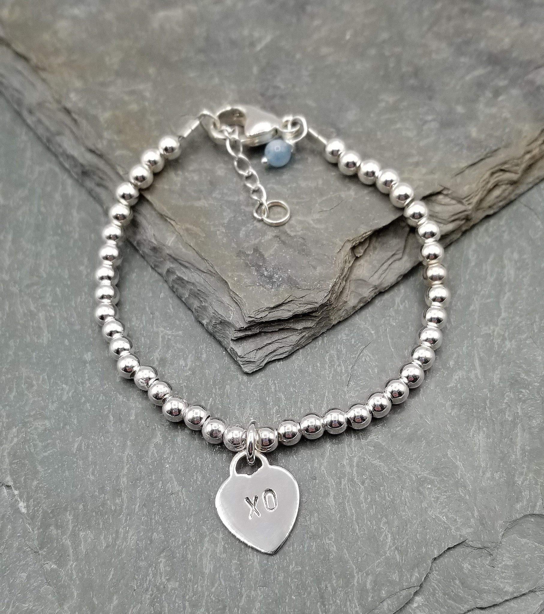 "LOVE LETTERS HEART CHARM BRACELET WITH ""XO"""