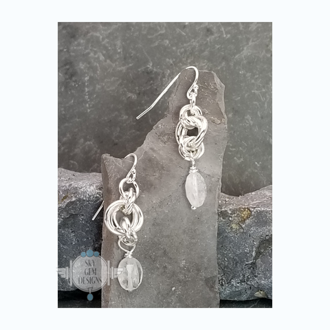 ENDLESS CIRCLE POWER OF THREE EARRINGS WITH MOONSTONE