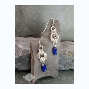 ENDLESS CIRCLE POWER OF THREE EARRINGS WITH LAPIS LAZULI
