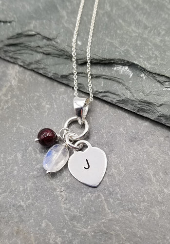 LOVE LETTERS HEART CHARM NECKLACE WITH GARNET & MOONSTONE