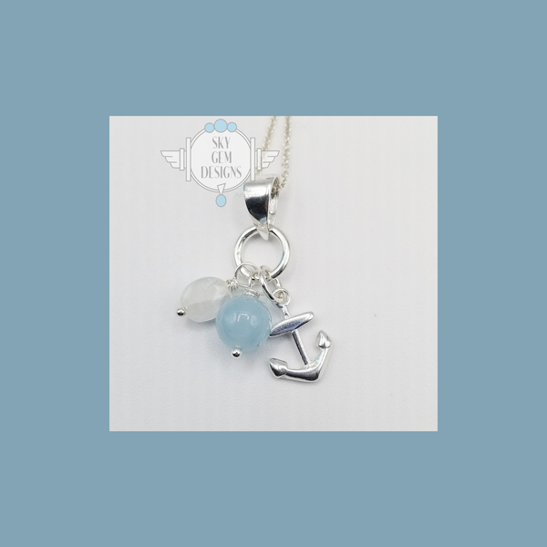 ANCHOR CHARM NECKLACE WITH AQUAMARINE & MOONSTONE
