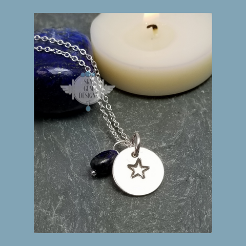 STAR CHARM NECKLACE WITH LAPIS LAZULI