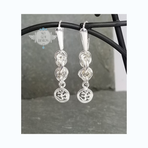 ENDLESS CIRCLE POWER OF THREE EARRINGS WITH OM CHARM