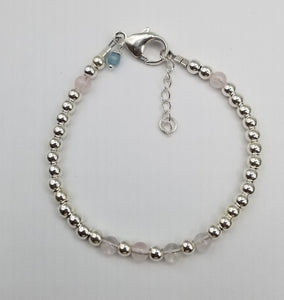 SWEET GEMS STERLING SILVER BRACELET WITH ROSE QUARTZ