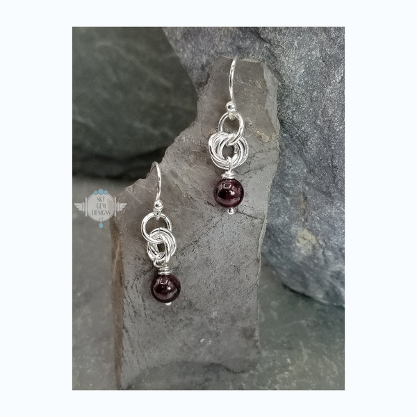 ENDLESS CIRCLE POWER OF THREE GARNET EARRINGS