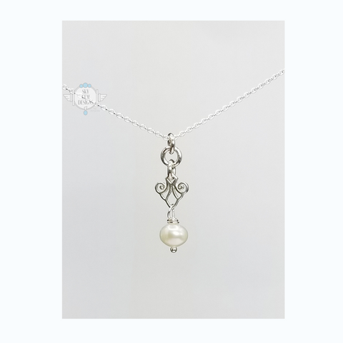 ART DECO CHIC SCROLL NECKLACE WITH FRESHWATER PEARL