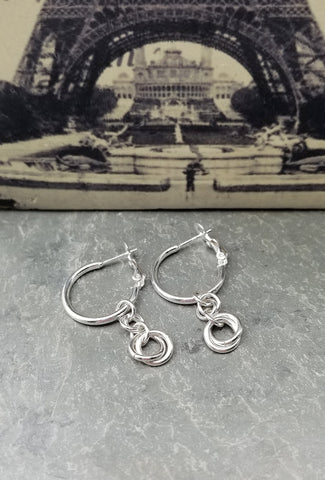 ENDLESS CIRCLE PARIS INSPIRATION EARRINGS W/CLIP HOOPS