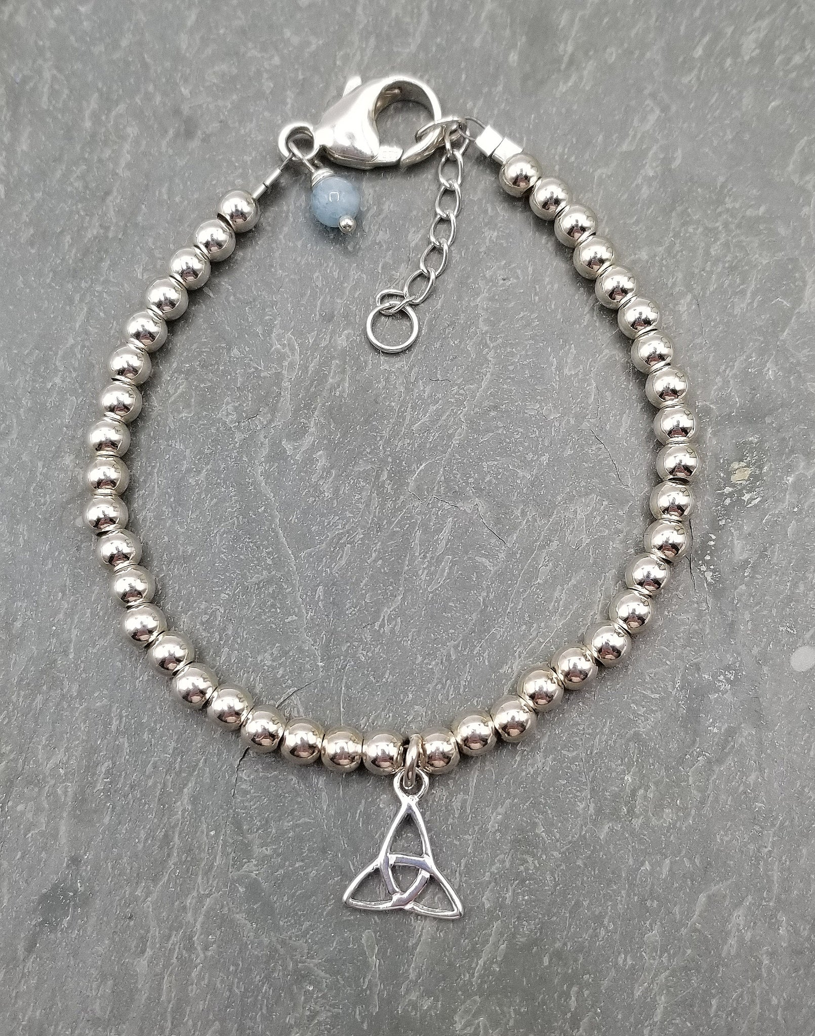SWEET GEMS STERLING SILVER BRACELET WITH TRINITY CHARM