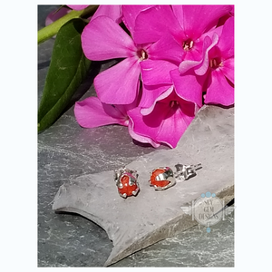 RED SPONGE CORAL FLOWER BUD EARRINGS