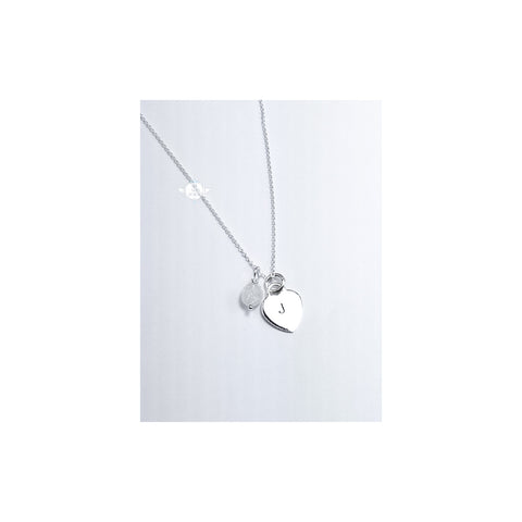 LOVE LETTERS HEART CHARM NECKLACE WITH MOONSTONE