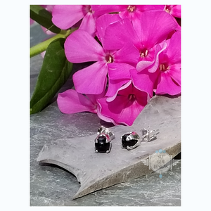 BLACK OBSIDIAN FLOWER BUD EARRINGS