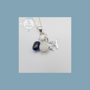 AIRPLANE CHARM NECKLACE WITH LAPIS LAZULI & MOONSTONE