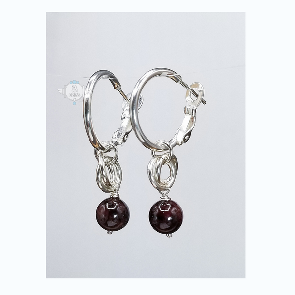 ENDLESS CIRCLE GARNET DROP EARRINGS