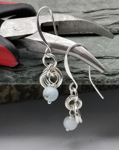ENDLESS CIRCLE EARRINGS WITH LARIMAR & S-HOOK STYLE EAR WIRE