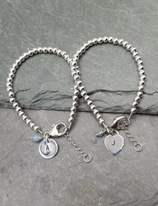 LOVE LETTERS HEART OR ROUND CHARM BRACELET