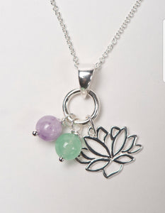 LOTUS FLOWER CHARM NECKLACE WITH JADE & LAVENDER AMETHYST