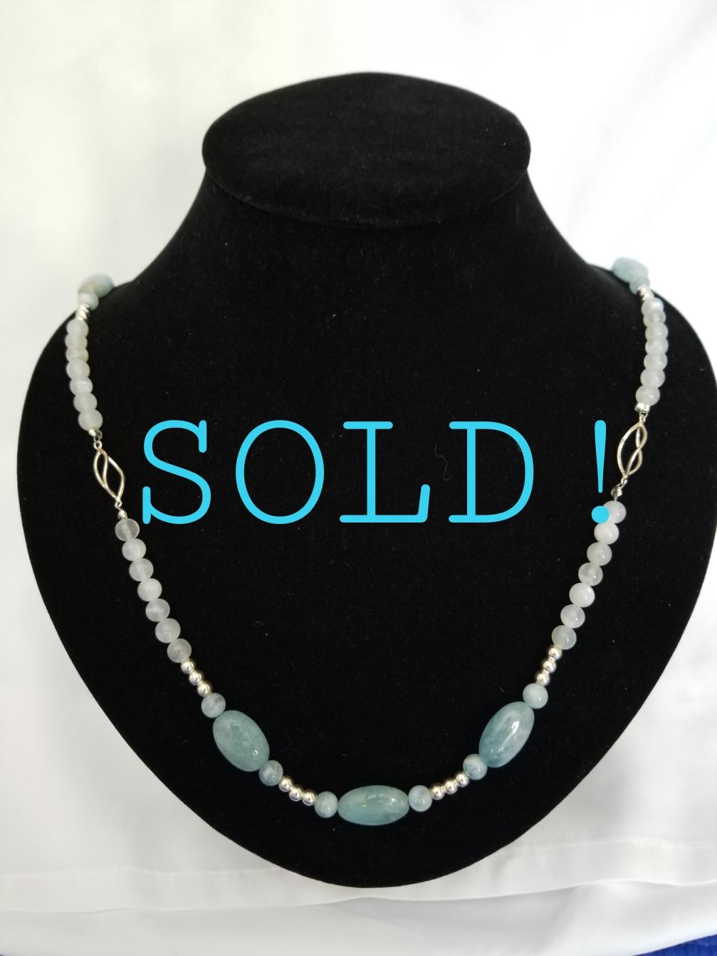 AQUAMARINE & MOONSTONE NECKLACE WITH SILVER TWISTS