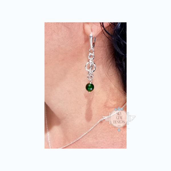 ENDLESS CIRCLE DAIZY EARRINGS WITH JADE
