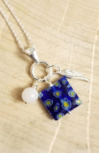 CHARMED NECKLACE WITH WING CHARM, DUBLIN DELIGHT BLUE & YELLOW
