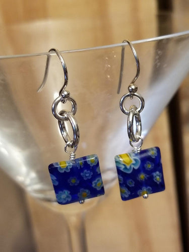 DUBLIN DELIGHT BLUE WITH YELLOW & WHITE FLOWERS EARRINGS