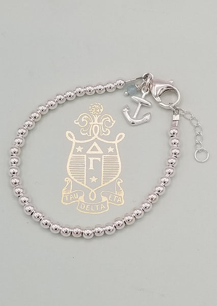 SWEET GEMS STERLING SILVER BRACELET WITH ANCHOR CHARM