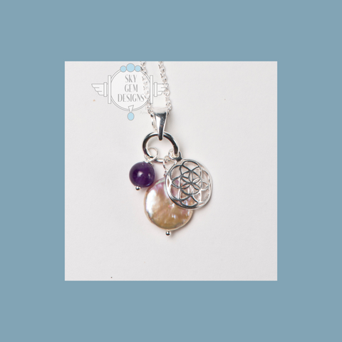 FLOWER OF LIFE CHARM NECKLACE WITH AMETHYST & FRESHWATER PEARL
