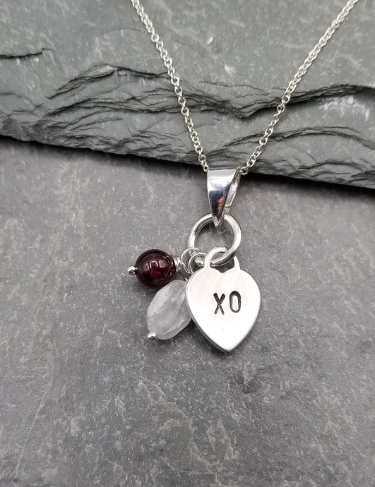 LOVE LETTERS HEART CHARM NECKLACE WITH XO, GARNET & MOONSTONE