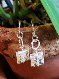 DUBLIN DELIGHT CLEAR WITH YELLOW FLOWERS EARRINGS