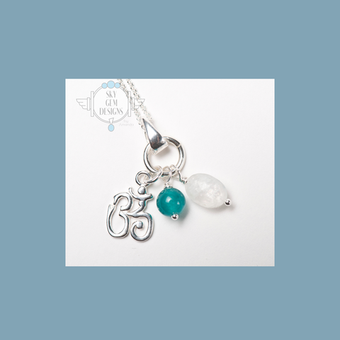 OM CHARM NECKLACE WITH MOONSTONE & AQUA JADE