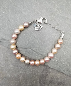 *SOLD OUT* SWEET GEMS PEACH FRESHWATER PEARL BRACELET WITH INFINITY HEART CHARM