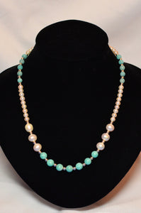 AMAZONITE, FRESHWATER PEARL & STERLING SILVER NECKLACE