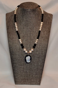 CAMEO WITH FRESHWATER PEARLS & BLACK TOURMALINE NECKLACE